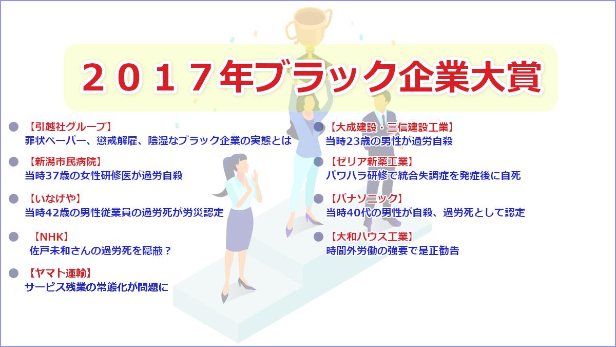 2017年ブラック企業大賞ノミネート一覧